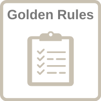 """Clipboard icon with the words """"Golden Rules"""" and a clickable link."""