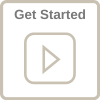 """Play icon with the words """"Get Started"""" and a clickable link."""