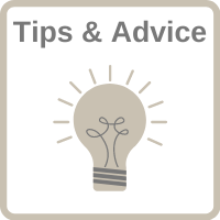 """Light bulb icon with the words """"Tips and Advice"""" and a clickable link."""