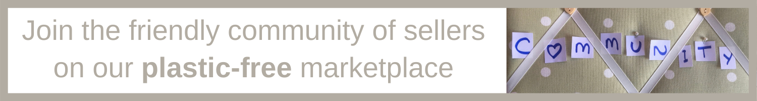Letters spelling 'community' pinned to a board with text 'join the friendly community of sellers on our plastic free marketplace'.