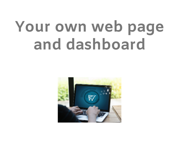 Vendor working on his e-commerce storefront on a laptop with text 'your own web page and dashboard' on a white background.