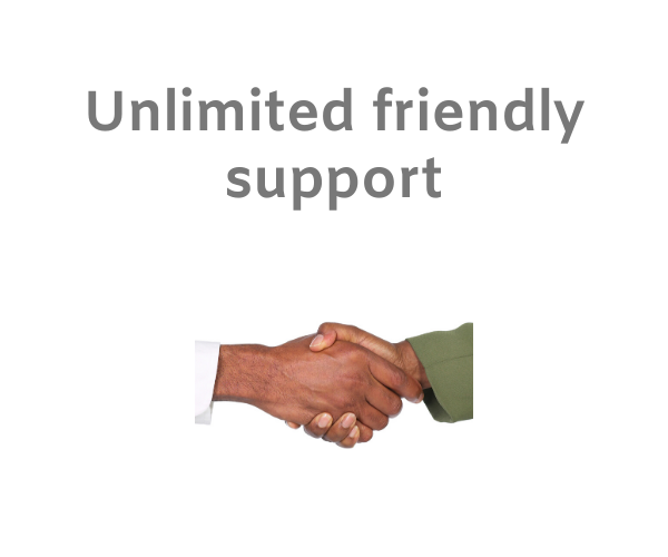 Vendor and marketplace owner shaking hands in friendly manner with text 'unlimited friendly support' on a white background.