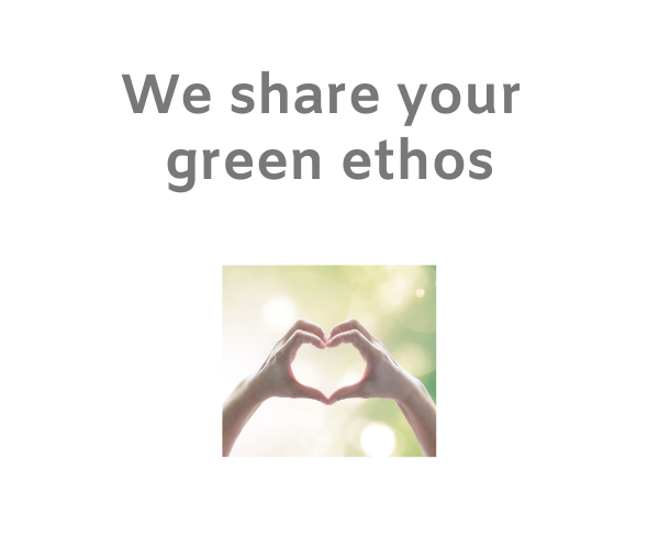 Pair of hands forming a heart shape on a natural green background with the words 'we share your green ethos'.
