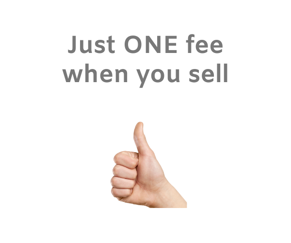 """Hand making a thumbs up gesture on a white background with the words """"Just one fee when you sell""""."""