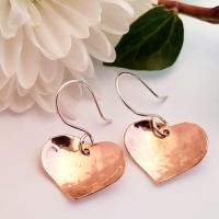 Repurposed Copper Heart Earrings