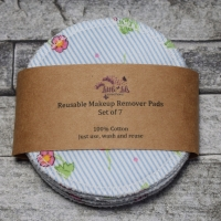 Reusable Makeup Remover Pads - Pink Flower on Blue