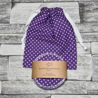 Reusable Makeup Remover Pads with optional Storage/Wash Bag - Purple Polka Dot