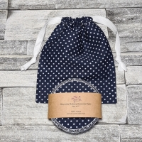 Reusable Makeup Remover Pads with optional Storage/Wash Bag - Navy Blue Polka Dot