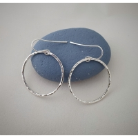Recycled silver hammered circle earrings