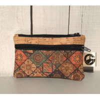 Coin purse, cork fabric, Moroccan tiles