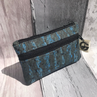 Coin purse, cork fabric, blue