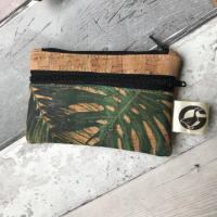 Coin purse, cork fabric, Green Leaves