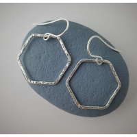 Recycled silver hexagon earrings
