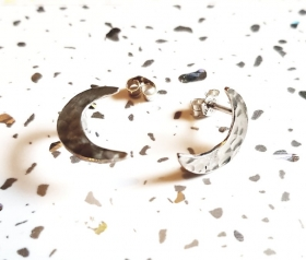 Recycled sterling silver Crescent moon stud earrings