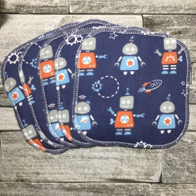 Reusable Baby Wipes - Robots - Set of 5