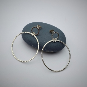 Recycled silver double circle earrings