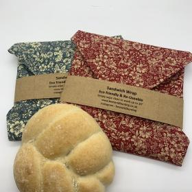 Reusable Sandwich Wrap - Blue Floral