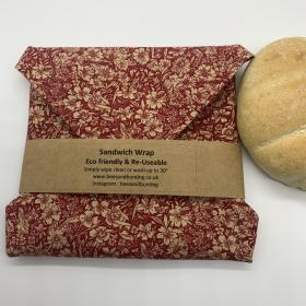 Reusable Sandwich Wrap - Red floral