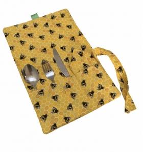 Cutlery roll, bee print cutlery wrap