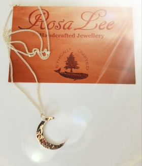 Recycled sterling silver Crescent moon pendant Necklace